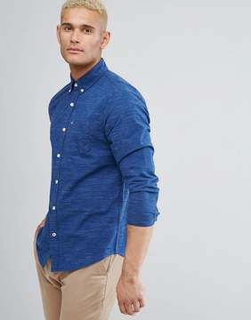 Hollister Logo Pocket Textured Slim Fit Shirt in Navy