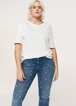 Violeta BY MANGO Pearl embroidery jeans