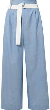 Tibi Serge Belted Cropped Wool Wide-leg Pants - Blue