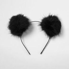 River Island Womens Black pom pom ears hair band