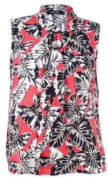 Nine West Women's V-Neck Tie Palm Print Top
