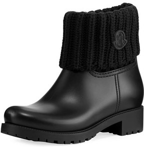 Moncler Rubberized Pull-On Rain Boot w/Knit Cuff