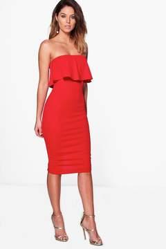 boohoo Bandeau Frill & Tie Waist Midi Dress