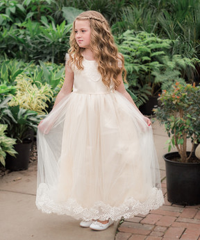 Aletta Ivory Lace-Accent Gown - Toddler & Girls