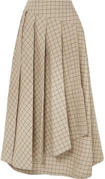 Awake Pleated Checked Cotton Midi Skirt - Beige