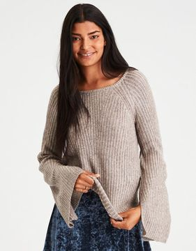 American Eagle Outfitters AE Split-Bell-Sleeve Ribbed Sweater