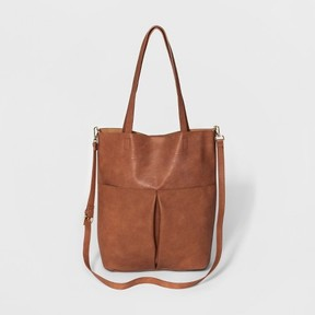 Mossimo Supply Co. Women's Large Snap-close Tote with Front Pockets and Crossbody Strap - Mossimo Supply Co.