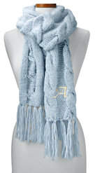 Lands' End Women's Chunky Cable Scarf-Dusty Blue Heather