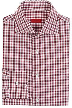 Isaia Men's Checked Cotton Poplin Button-Front Shirt