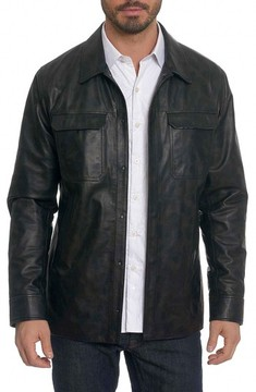 Robert Graham Men's Colden Camo Leather Shirt Jacket