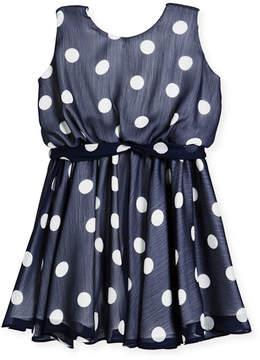 Helena Sleeveless Polka-Dot Dress, Size 7-14