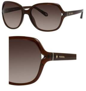Fossil Plastic Aviator Sunglasses 58 0XL7 Transparent Brown (B1 warm brown gradient lens)