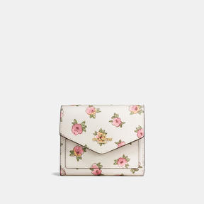 COACH Coach Small Wallet In Flower Patch Print Coated Canvas - LIGHT GOLD/FLOWER PATCH - STYLE