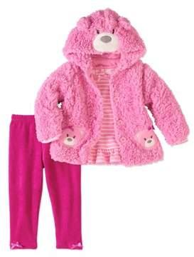 Nannette Newborn Baby Girl Critter Jacket, Top & Legging 3pc Outfit Set