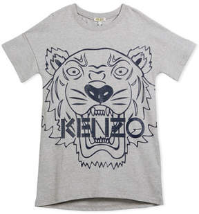 Kenzo Drop-Shoulder Dress w/ Oversized Tiger Face Graphic, Gray, Size 14-16