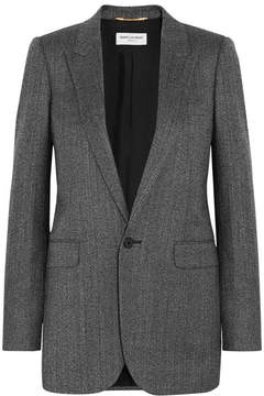 Saint Laurent - Herringbone Wool Blazer - Gray