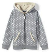 Lands' End Girls Plus Sherpa Lined Hoodie-Gray Heather Dot
