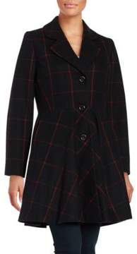 CeCe Fit-and-Flare Wool-Blend Coat