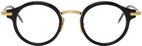 Thom Browne Navy and Gold TB-807 Glasses
