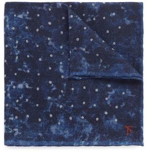 Isaia Dot tie dye print twill pocket square