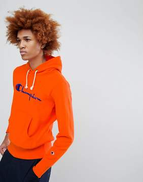 Champion Hoodie With Large Logo In Orange