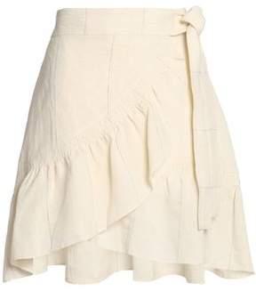 A.L.C. Ruffled Linen And Silk-Blend Wrap Mini Skirt