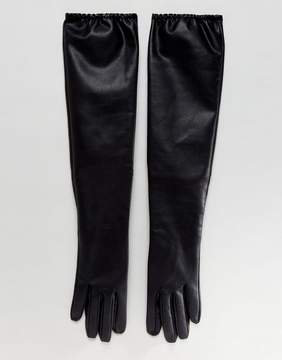 Asos Leather Look Long Gloves