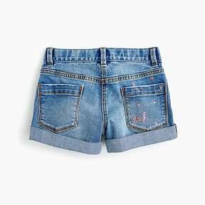 J.Crew Girls' cowgirl roll-up jean short in glitter splatter