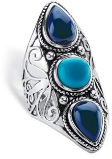 Lapis Seta Jewelry Round And Pear-cut Simulated Turquoise And Blue Boho Scroll Cocktail Ring.