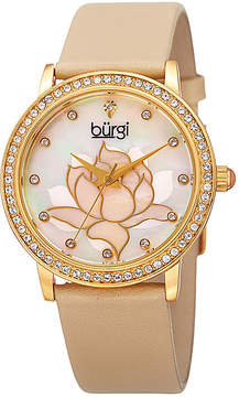 Burgi Womens Cream Mother Of Pearl Strap Watch