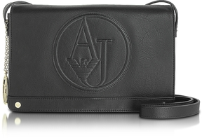 Armani Jeans Black Faux Leather Crossbody Bag