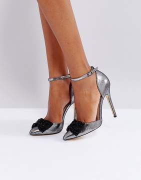 London Rebel Bow Two Part Point High Heels