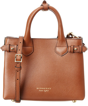 Burberry Banner Small House Check & Leather Tote - BROWN - STYLE