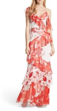 Alice + Olivia Olympia Asymmetrical Silk Maxi Dress