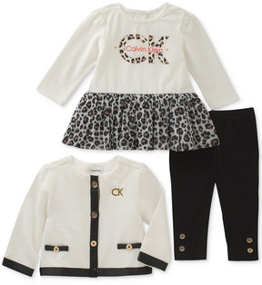 Calvin Klein 3-Pc. Pointelle-Knit Moto Jacket, Peplum Tunic & Leggings Set, Baby Girls (0-24 months)