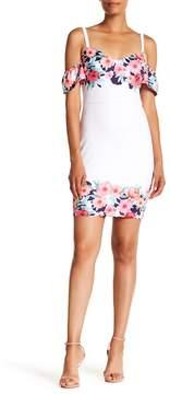 GUESS V-Neck Cold Shoulder Floral Print Dress