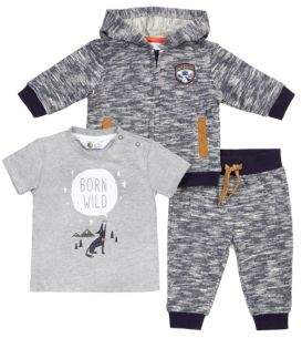 Petit Lem Baby's Three-Piece Wolf Pack Top, Jogger & Zip Hoodie Set