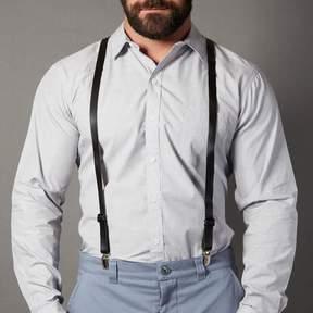 Blade + Blue Black Leather Skinny Suspenders