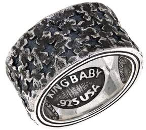 King Baby Studio Jewelry Sterling Silver Men's Star Band Ring
