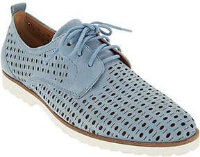 Earth Perforated Leather Lace-Up Shoes -Camino