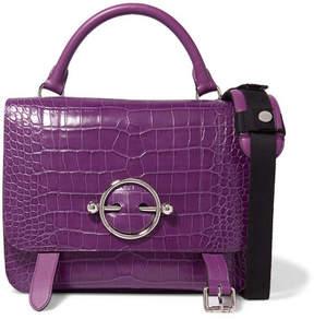 J.W.Anderson Disc Lace-up Croc-effect Leather Shoulder Bag - Purple