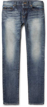 Saint Laurent Skinny-Fit 15cm Hem Washed Stretch-Denim Jeans