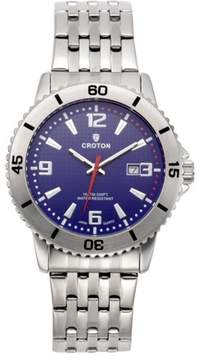 Croton Men's Aquamatic Stainless Steel Blue Dial Sport Watch with Date