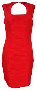 GUESS Women's Textured Halter Sheath Dress (4, Dark Coral)