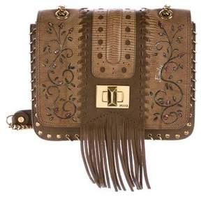 Emilio Pucci Lizard-Trimmed Flap Bag