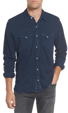 Michael Bastian Men's Indigo Pique Knit Western Shirt