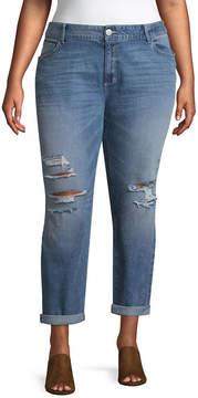Boutique + + Medium Wash Girlfriend Crop Jean - Plus