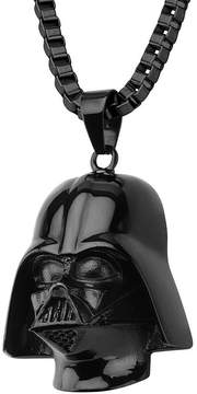 Star Wars FINE JEWELRY Darth Vader Mens 3D Stainless Steel & Black IP Pendant Necklace