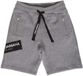 Dolce & Gabbana Logo Tag Print Cotton Sweat Shorts