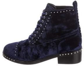 Marc Fisher Velvet Studded Combat Boots